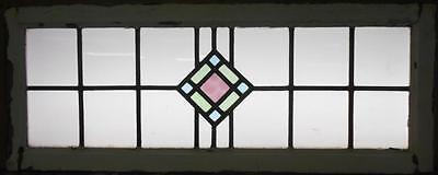 "LARGE OLD ENGLISH LEADED STAINED GLASS WINDOW Geometric Sqaure 37.5"" x 14.75"""