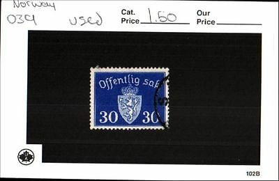Norway Stamp Lot Scott 039 Used Low Combined Shipping
