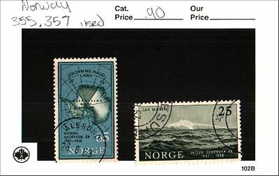 Norway Stamp Lot Scott 355, 357 Used Low Combined Shipping