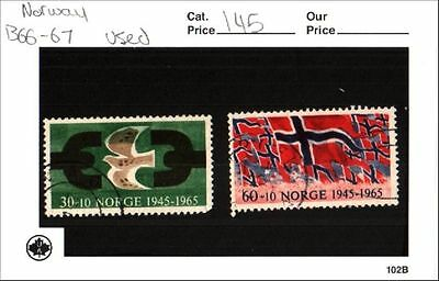 Norway Stamp Lot Scott B66 - B67 Used Low Combined Shipping