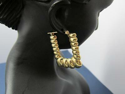 Vintage Classic Rare Design 14k Solid Yellow Gold Puffed Earrings