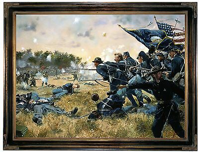 Troiani Attack of the 1st Minnesota at Gettysburg-Brown Framed Canvas Print22x29