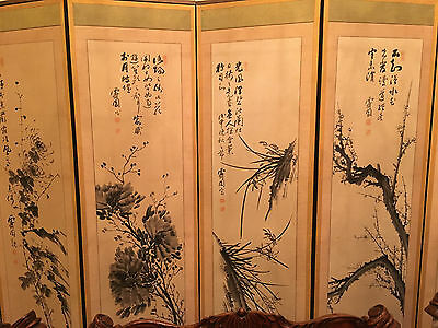 A Large and Rare Six Panel Chinese Antique Ink Painting Screen, Artist Signed.