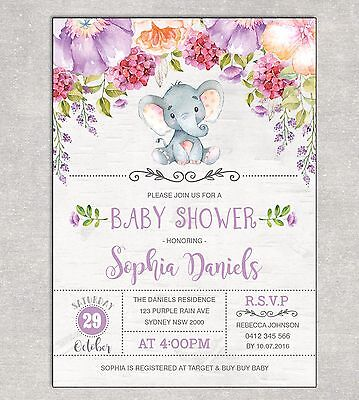 Elephant Baby Shower Invitation Floral Invite Purple Flowers Birthday Supplies