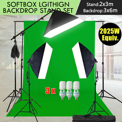 3x6m Green Screen Studio Softbox Lighting Boom Light Stand& Backdrop Support Kit