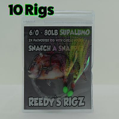 10 Snapper Snatchers rigs 6/0 Fishing Rig 80lb Leader Flasher Rigs Paternoster
