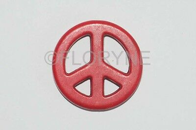 Perle Breloque Symbole Peace And Love Paix En Pierre Naturelle Rouge