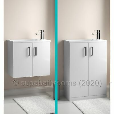 Gloss White Minimalist 550 Vanity Unit Wall Hung Floor Tap Bathroom Cloakroom