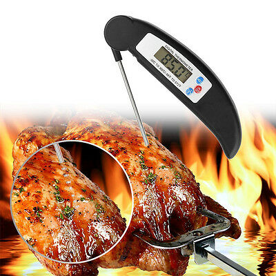 Digital LCD Grillthermometer mit Fühler BBQ Grill Thermometer Barbecue Schwarz