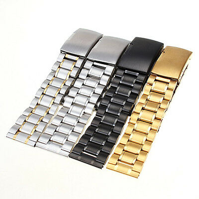 New Stainless Steel Solid Link Watch Band Bracelet Straight End Band 4Color