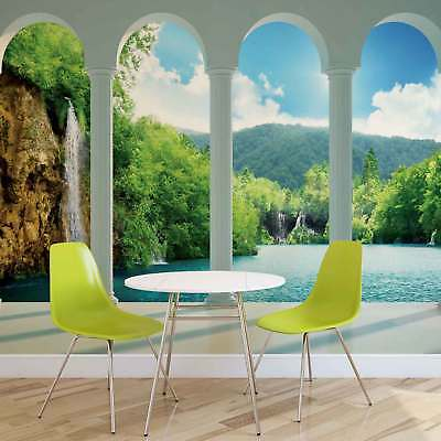 WALL MURAL PHOTO WALLPAPER XXL Waterfall Lake Nature Pillars Arches (2353WS)