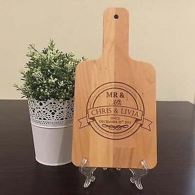 Personalised Wooden Cheese Board Wedding Birthday Engagement Father Day Gift