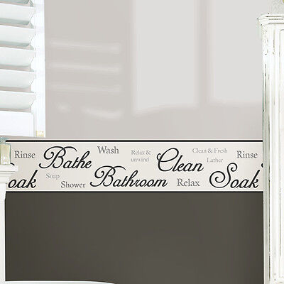 "WallPops! 16.3' x 5.9"" Bathroom Script Peel and Stick Border Wallpaper Set of 2"