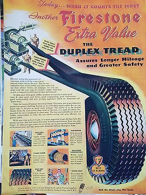 1944 Firestone Tires Extra Value Duplex Tread Original Ad