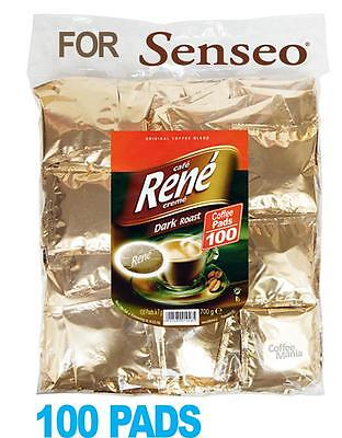 Philips Senseo 100 x Café Rene Dark Roast Coffee Individually Sealed Pads Bags