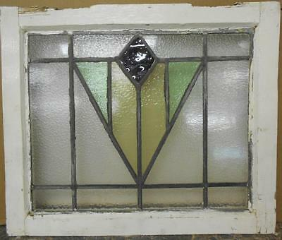 """OLD ENGLISH LEADED STAINED GLASS WINDOW Nice Geometric Design 20"""" x 16.75"""""""
