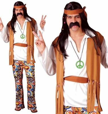 Adult Mens 60s 70s Hippie Hippy Man Groovy Woodstock Fancy Dress Costume New