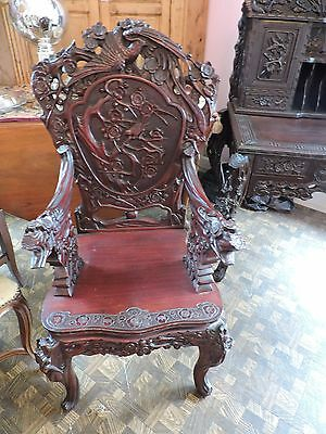 SALE Antique Chinese Rosewood Desk And Chair Hand carved SALE 2195.00