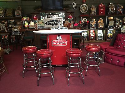 "NOS Paragon Phosphates Soda Fountain Counter with 4 Stools "" Watch Our Video"""