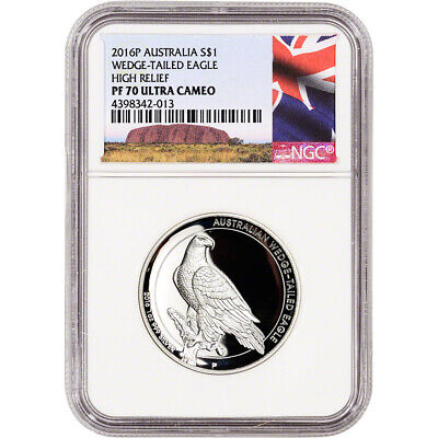 2016-P Australia Silver Wedge-Tailed Eagle High Relief Proof $1 - NGC PF70 Ayers