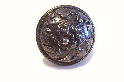 Antique Victorian Iron Door Knob Ornate Raised Design - Polished