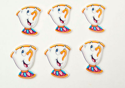 6 pc Chip Beauty and the Beast inspired Cup Cake Toppers Planar Resin Cabochon
