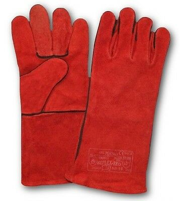 1 Pair Welding Red Leather Gloves Welders Gauntlets Heat Resistant Safety Ppe