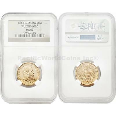 Germany 1900-F Wurttemberg 20 Mark Gold NGC MS62