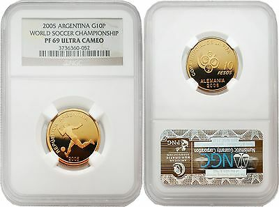 Argentina 2005 World Soccer Championship Gold NGC PF-69 ULTRA CAMEO