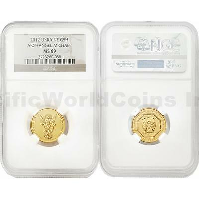 Ukraine 2012 Archangel Michael 5 Hryven 1/4 oz Gold NGC MS69