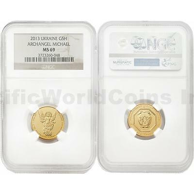 Ukraine 2013 Archangel Michael 5 Hryven 1/4 oz Gold NGC MS69