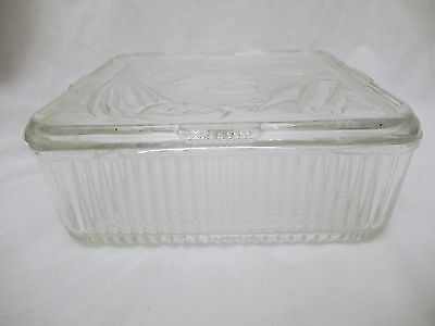 "Vintage Clear Federal Glass Refrigerator Dish - 8"" Across"