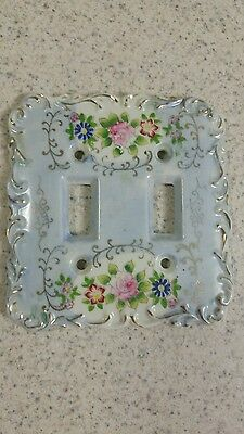 Betson Hand Painted Double Light Switch Ceramic Floral and blue