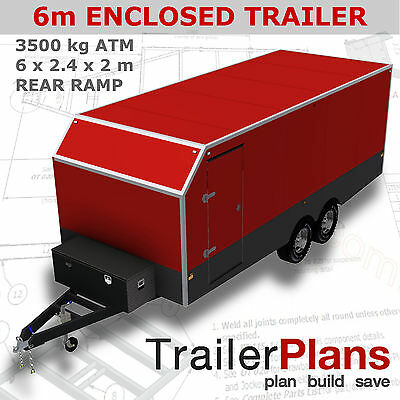 Trailer Plans- ENCLOSED TRAILER PLANS- 6x2.4x2m (±20x8x6½ft)- PRINTED HARDCOPY