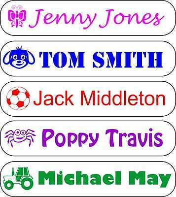 Stick on Sticker Name Labels Personalised Waterproof for books, bottles, shoes