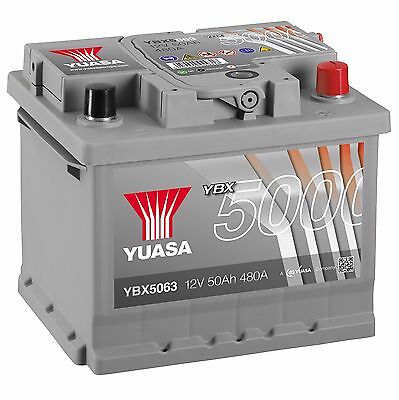 Yuasa YBX5063 12V Silver 063 Series Car Battery 50Ah 480A