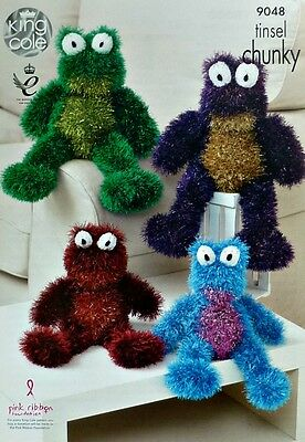 KNITTING PATTERN Tinsel Frogs Knitted Stuffed Toys 2 sizes Chunky King Cole 9048