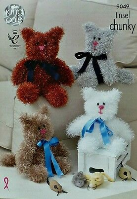 KNITTING PATTERN Tinsel Cats Knitted Stuffed Toys 2 sizes Chunky King Cole 9049