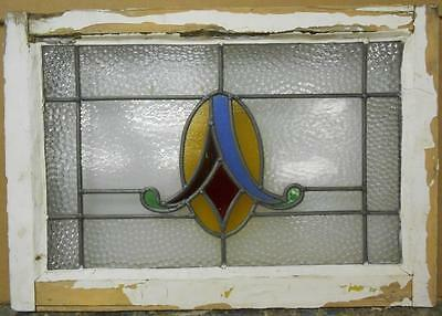 "MID SIZED OLD ENGLISH LEADED STAINED GLASS WINDOW Nice Abstract 25.25"" x 17.5"""
