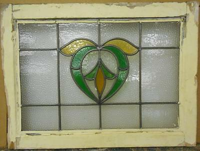 "MID SIZED OLD ENGLISH LEADED STAINED GLASS WINDOW Floral Heart 24.75"" x 18.25"""