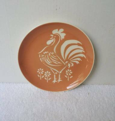 """VTG HARKERWARE COCK O' MORN CORAL 7"""" LUNCHEON PLATE * VERY NICE * #h1"""