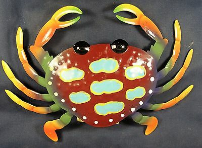 Crab hand painted Metal wall hanging brown/blue sea life decor