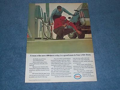 "1971 Enco Vintage Gasoline Oil Ad ""A Man Who Sees 400 Tires A Day..."""