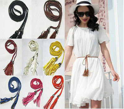 PU Leather Tassel Fashion Ladies Braided Belt Self-Tie Thin Waist Rope Belt