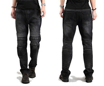 Men's MOTORCYCLE DENIM PANTS IN BLACK AND BLUE  PROTECTION
