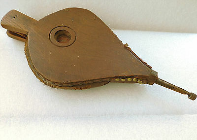 Antique bellows Wood and leather vintage fire side tool old hearth decor 18 inch