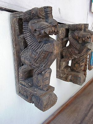 RELIGIOUS EDH 1850s Antique Yalli Wooden Bracket Hindu Temple Corbel Pair