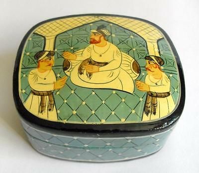 Vintage box with male group on lid Hand painted papier mache Rajasthan 11002