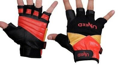 Gold GYM Max Lift Leather Weight Lifting Gloves Body Building Exercise Training