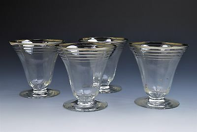 Dorothy Thorpe Silver Stripe Footed Champagne Dessert Glasses- Set of 4
